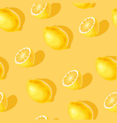 seamless pattern with lemon slices and whole vector image