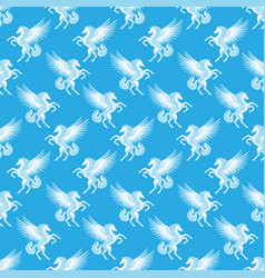 seamless pattern with white pegasus vector image