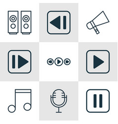 Set 9 multimedia icons includes mike music vector