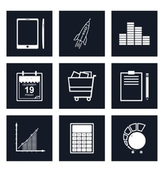 Set of Black Round Business Icons vector image