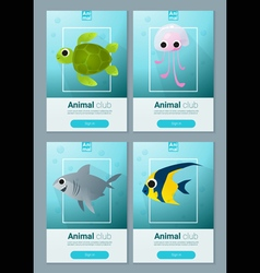 Set of sea animal templates for web design 1 vector