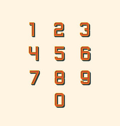 set retro 0-9 number icons vector image