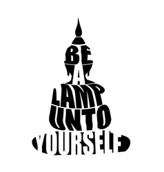 Silhouette of buddha with inspirational quote vector