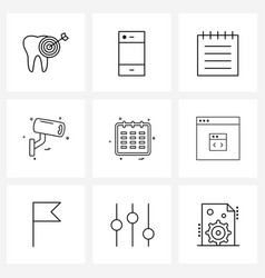 Simple set 9 line icons such as date calendar vector
