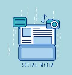 Social media laptop message sharing photo vector