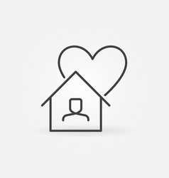 stay at home line icon - house with heart vector image