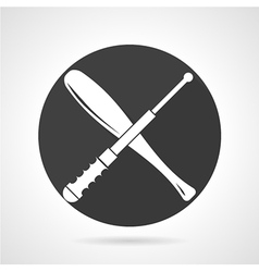 Stick and baton black round icon vector
