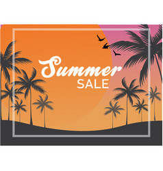 summer sale banner backdrop silhouette palm tree vector image