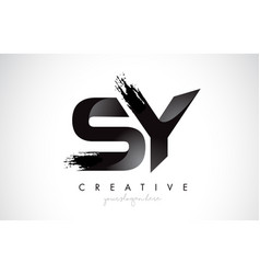 sy letter design with brush stroke and modern 3d vector image