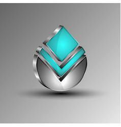 the 3dshiny futuristic emblem vector image