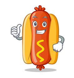 thumbs up hot dog cartoon character vector image
