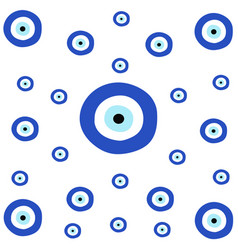 Tileable texture with greek blue evil eye vector