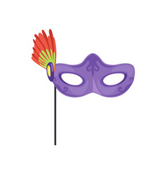 venetian mask with feathers masquerade decorative vector image