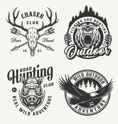 Vintage hunting emblems set vector