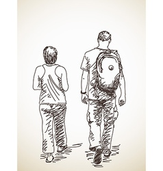 Walking couple back view vector