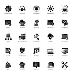 Web solid icons pack vector