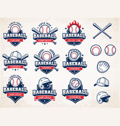 White red and blue baseball logos vector