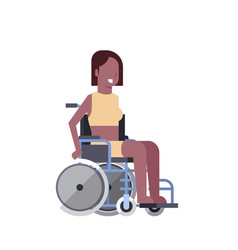 woman sit on wheelchair on white background vector image
