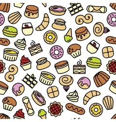 World best desserts and sweets seamless pattern vector