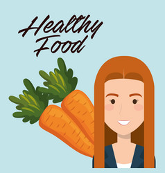young woman with carrots healthy food vector image