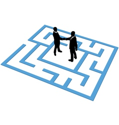 Business people team find connection in maze vector
