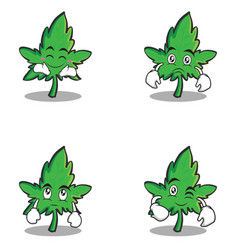 marijuana character cartoon set style vector image vector image