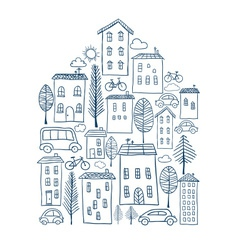 Town doodles in house shape vector image