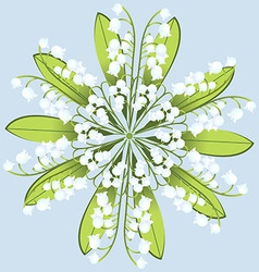 Wreath of flowers of Lily on a blue background vector image