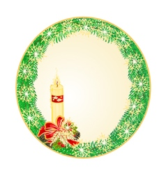 Button circle Christmas Spruce with candle vector image vector image