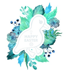 Easter watercolor natural with duckling sticker vector image vector image