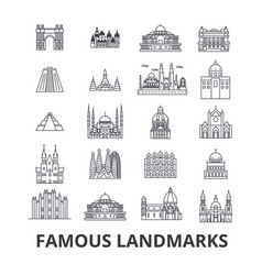 famous landmark sights world place world travel vector image