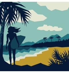 girl with a surf vector image