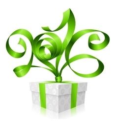 green ribbon and gift box 2016 vector image vector image