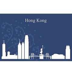 Hong Kong city skyline on blue backgrou vector image