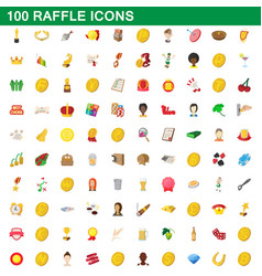 100 raffle icons set cartoon style vector image vector image