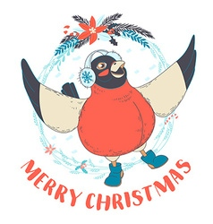 Festive Funny Merry Christmas card with bullfinch vector image vector image