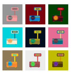 Flat assembly icons of cash machine sale discounts vector