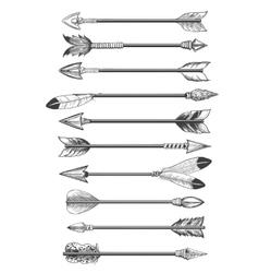 Hand drawing ethnic arrows vector image vector image