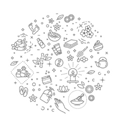 Outline web icon set - Spa and Beauty vector image