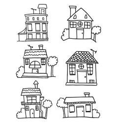 set of hand draw building vector image