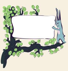 Cartoon cute rabbit on grass with banner vector