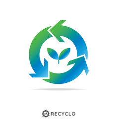 Circle recycle with growth leaf logo concept logo vector