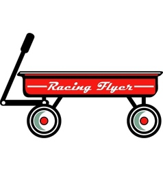 Little red toy wagon vector image vector image