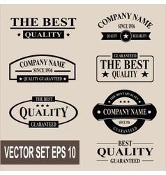 set of vintage quality garanteed labels vector image