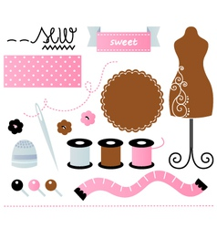 Sewing set isolated on white - pink and brown vector image vector image
