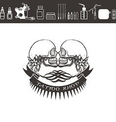 Tattoo shop logo emblem Black and white vector image