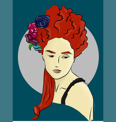 woman with flowers in red hair on a blue vector image vector image
