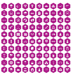 100 kids games icons hexagon violet vector