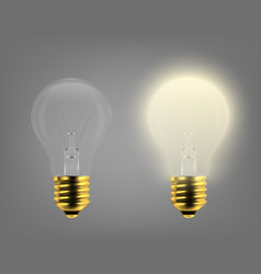 3d realistic turning on and off light bulb vector