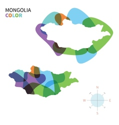 Abstract color map of Mongolia vector